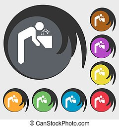 drinking fountain icon sign Symbol on eight colored buttons...