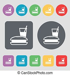 lunch box icon sign. A set of 12 colored buttons. Flat design. Vector