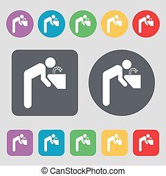 drinking fountain icon sign A set of 12 colored buttons Flat...