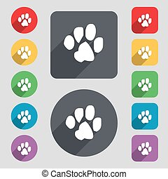 trace dogs icon sign. A set of 12 colored buttons and a long shadow. Flat design. Vector
