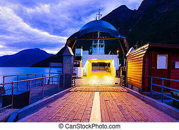 Ferry in fjord Hardanger Norway