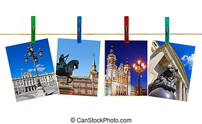 Madrid Spain photography on clothespins isolated on white...