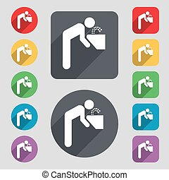drinking fountain icon sign A set of 12 colored buttons and...