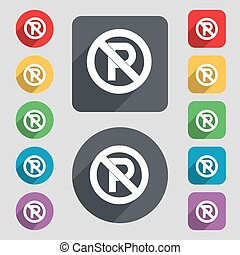 No parking icon sign. A set of 12 colored buttons and a long shadow. Flat design. Vector