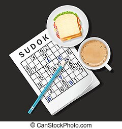 Sudoku with coffee cup and sandwich - top view of Sudoku...