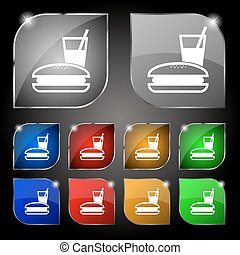 lunch box icon sign. Set of ten colorful buttons with glare. Vector