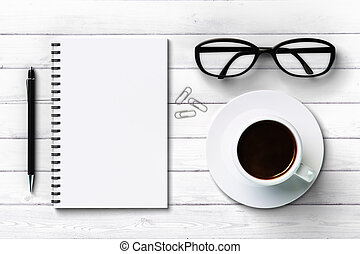 white blank diary, cup of coffee and glasses, mock up