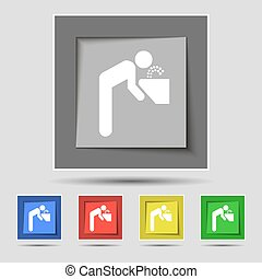 drinking fountain icon sign on original five colored buttons...