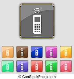 the remote control icon sign Set with eleven colored buttons...