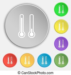 thermometer temperature icon sign. Symbol on five flat...
