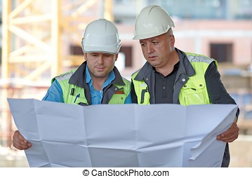Civil Engineer And Senior Foreman At Construction Site -...