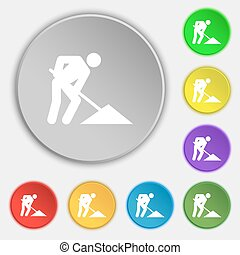 repair of road, construction work icon sign. Symbol on five flat buttons. Vector