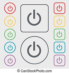 Power icon sign. symbol on the Round and square buttons with frame. Vector