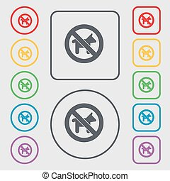 dog walking is prohibited icon sign. symbol on the Round and square buttons with frame. Vector