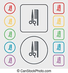 hair icon sign. symbol on the Round and square buttons with frame. Vector