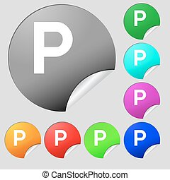parking icon sign. Set of eight multi colored round buttons,...