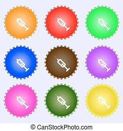 syringe icon sign. A set of nine different colored labels....