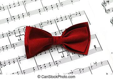 rouges, arc, cravate, musical, notes, papier
