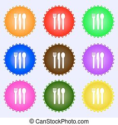 fork, knife, spoon icon sign. A set of nine different colored labels. Vector