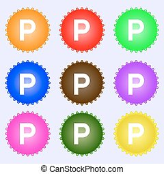 parking icon sign. A set of nine different colored labels....