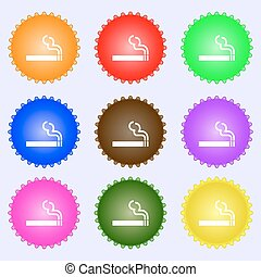 cigarette smoke icon sign. A set of nine different colored labels. Vector