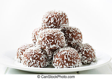 Chocolate coconut balls - No-bake chocolate snowball cookies...
