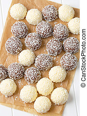 Chocolate coconut snowballs - Chocolate snowball truffles...