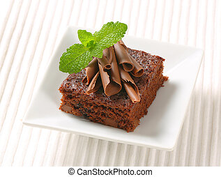 Chocolate Chip Brownie - Brownie topped with chocolate curls