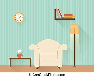 Living room with white armchair