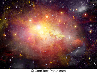 galaxy in a free space - Stars of a planet and galaxy in a...