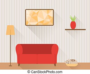 Living room with red sofa and cat