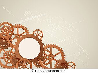 Vector industrial background in the style of steampunk