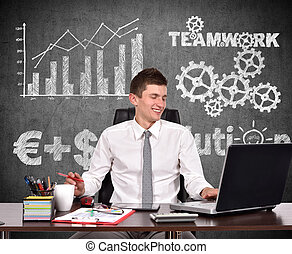 homem negócios, trabalhando