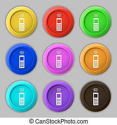 the remote control icon sign. symbol on nine round colourful...
