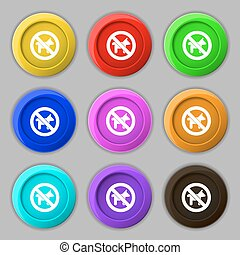 dog walking is prohibited icon sign. symbol on nine round colourful buttons. Vector
