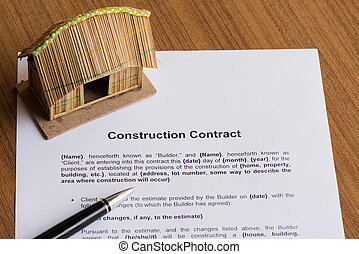house rental contract  on the white paper with pen