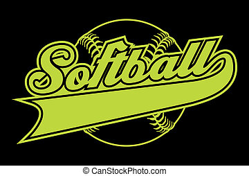 Softball Design With Banner is an illustration of a softball...