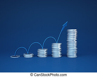 Profit growth - Concept with arrow and coins stylized as...