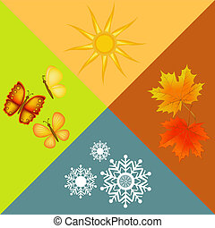four seasons symbols - colorful four seasons symbols...