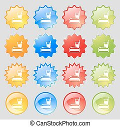 lunch box icon sign. Big set of 16 colorful modern buttons for your design. Vector