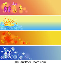 four seasons symbols illustration - colorful four seasons...