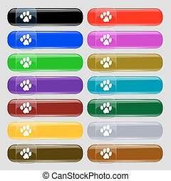trace dogs icon sign. Set from fourteen multi-colored glass buttons with place for text. Vector