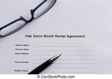 hair salon booth rental agreement on the white paper with...