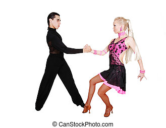 couple dancing latino over white