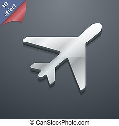 airplane icon symbol 3D style Trendy, modern design with...
