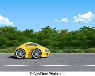Yellow sportcar on the road - 3D render of Funny sportcar...