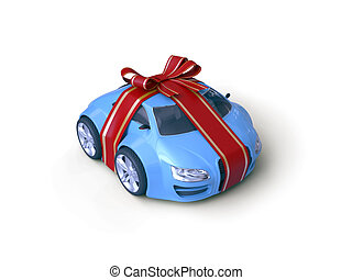 Car Gift - Gift stripe over little car with a bow