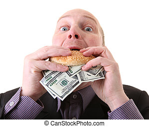 greed avarice consuming dollars - greed, businessman eating...