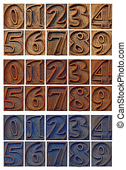 outlined numbers in letterpress wood type