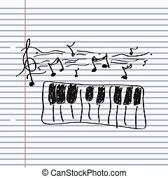 Simple doodle of a piano - Simple hand drawn doodle of a...